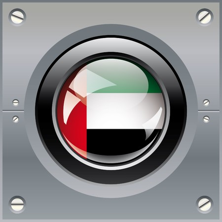 United arab emirates shiny button flag illustration. Isolated abstract object on metal background. illustration