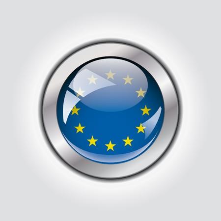 Europe union shiny button flag  photo