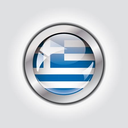 Greece shiny button flag  photo