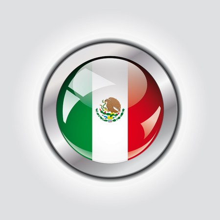 Mexico shiny button flag  photo