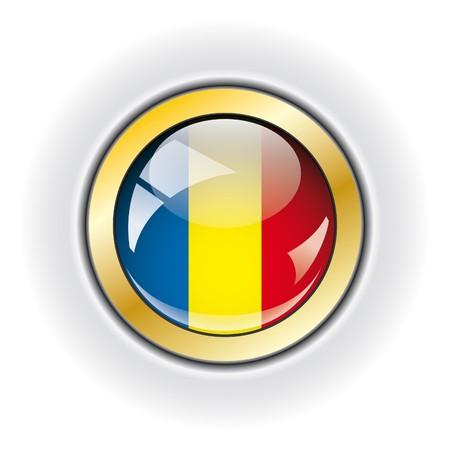Romania shiny button flag  photo