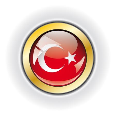 Turkey shiny button flag  photo