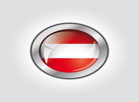 Austria shiny button flag vector illustration. Isolated abstract object against white background. illustration