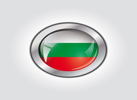 Bulgaria shiny button flag vector illustration. Isolated abstract object against white background. illustration