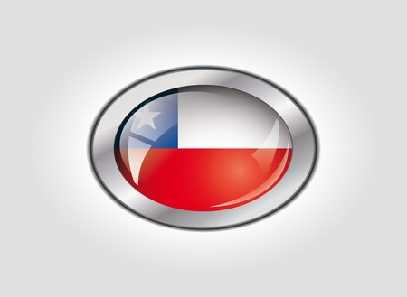 Chile shiny button flag vector illustration. Isolated abstract object against white background. illustration