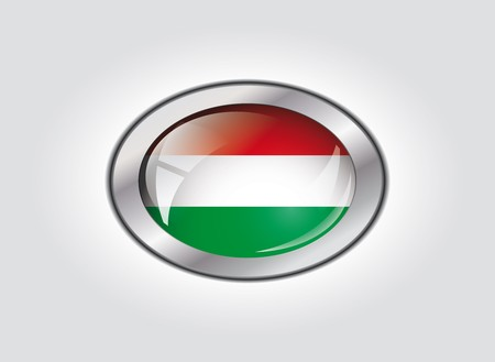 Hungary shiny button flag vector illustration. Isolated abstract object against white background. illustration