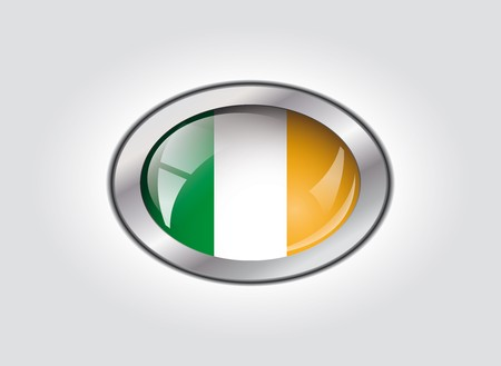 Ireland shiny button flag illustration. Isolated abstract object against white background. Stock Illustration - 7983956