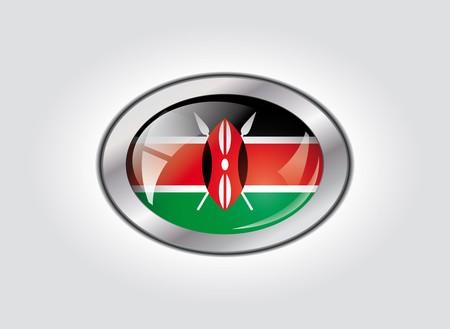 Kenya shiny button flag illustration. Isolated abstract object against white background. illustration