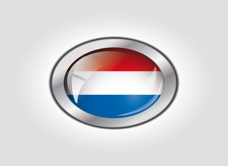 Netherlands shiny button flag vector illustration. Isolated abstract object against white background. Stock Illustration - 7983964