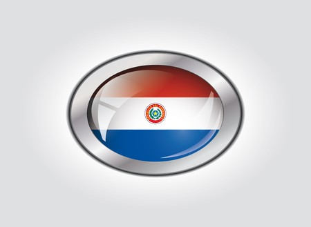 Paraguay shiny button flag vector illustration. Isolated abstract object against white background. illustration