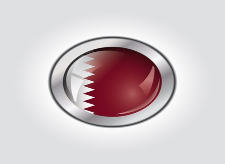 Qatar shiny button flag vector illustration. Isolated abstract object against white background. illustration