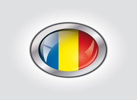Romania shiny button flag vector illustration. Isolated abstract object against white background. illustration