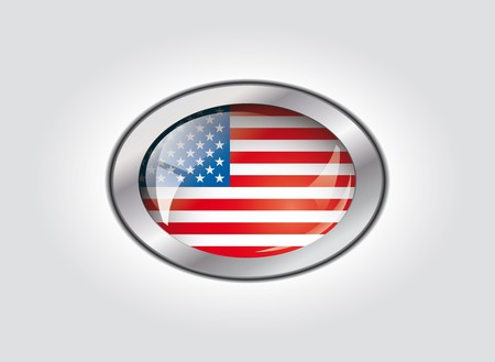 USA America shiny button flag vector illustration. Isolated abstract object against white background. illustration