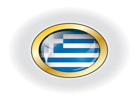 Greece shiny button flag vector illustration. Isolated abstract object against white background. illustration