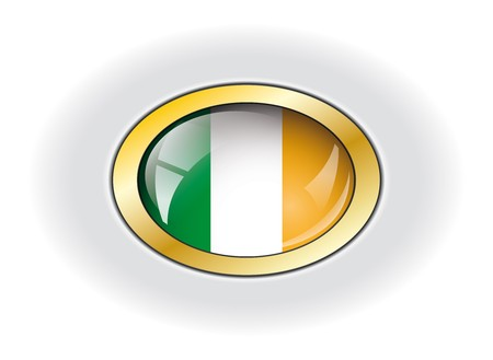 Ireland shiny button flag vector illustration. Isolated abstract object against white background. Stock Illustration - 7984023