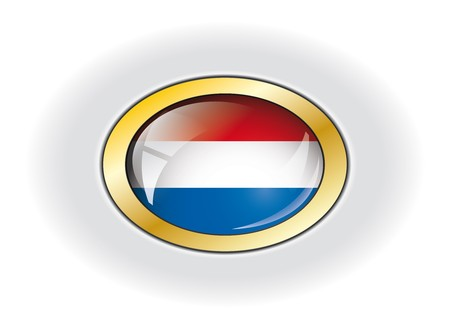 Netherlands shiny button flag vector illustration. Isolated abstract object against white background. illustration