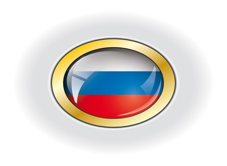 Russia shiny button flag vector illustration. Isolated abstract object against white background. illustration