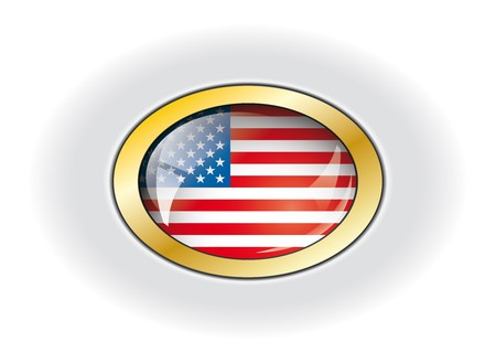 USA America shiny button flag illustration. Isolated abstract object against white background. illustration