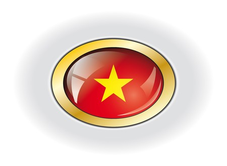 Vietnam shiny button flag illustration. Isolated abstract object against white background. illustration