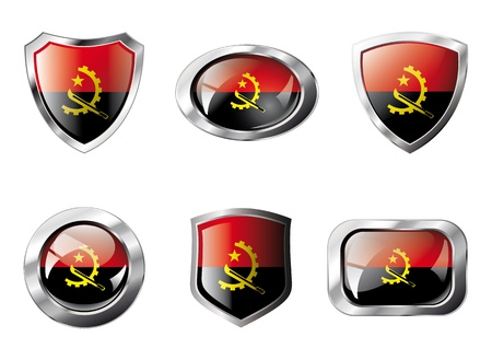 Angola set shiny buttons and shields of flag with metal frame - illustration. Isolated abstract object against white background. illustration