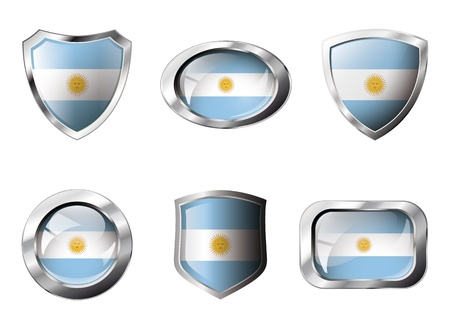 shiny buttons: Argentina set shiny buttons and shields of flag with metal frame - illustration. Isolated abstract object against white background. Stock Photo