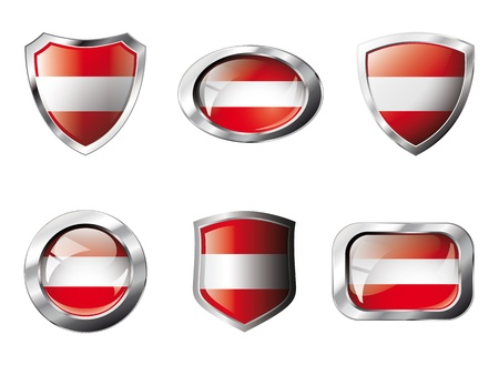 Austria set shiny buttons and shields of flag with metal frame . Isolated abstract object against white background. photo
