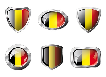 Belgium set shiny buttons and shields of flag with metal frame - illustration. Isolated abstract object against white background. Stock Illustration - 8788343