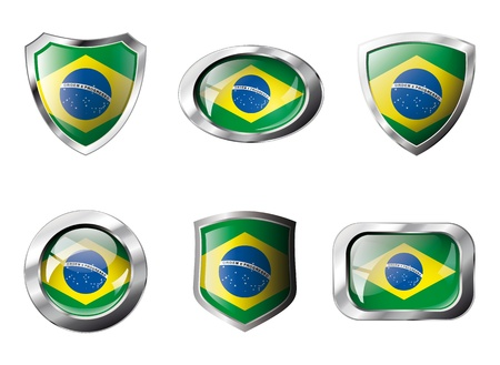 Brazil set shiny buttons and shields of flag with metal frame - illustration. Isolated abstract object against white background. illustration