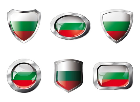Bulgaria set shiny buttons and shields of flag with metal frame. Isolated abstract object against white background. photo