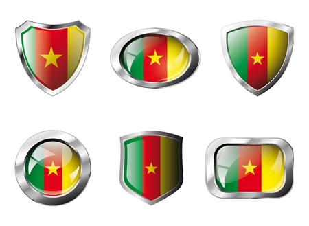 Cameroon set shiny buttons and shields of flag with metal frame - illustration. Isolated abstract object against white background. Stock Illustration - 8788288