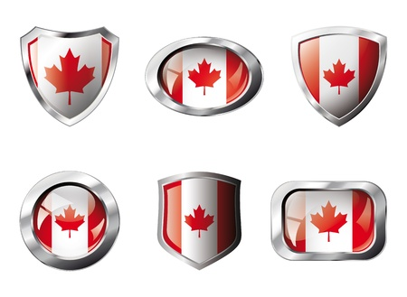 Canada set shiny buttons and shields of flag with metal frame - illustration. Isolated abstract object against white background. Stock Illustration - 8788306