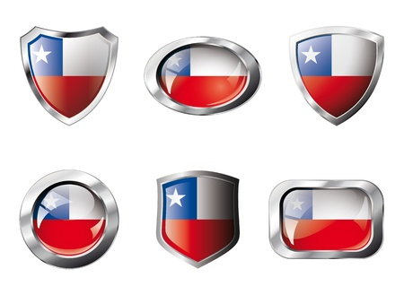 chile flag: Chile set shiny buttons and shields of flag with metal frame - illustration. Isolated abstract object against white background. Stock Photo