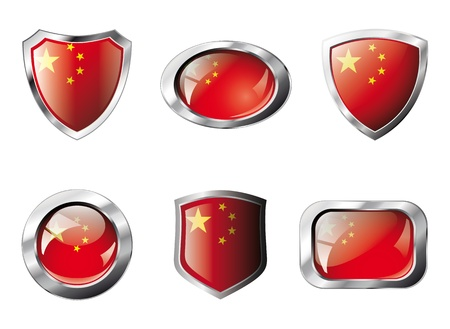 China set shiny buttons and shields of flag with metal frame - illustration. Isolated abstract object against white background. Stock Illustration - 8788289
