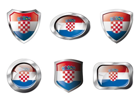bandera croacia: Croacia definir botones brillante y escudos de bandera con armaz�n de metal - ilustraci�n. Objeto abstracto aislado sobre fondo blanco.