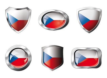 Czech set shiny buttons and shields of flag with metal frame - illustration. Isolated abstract object against white background. Stock Illustration - 8788333