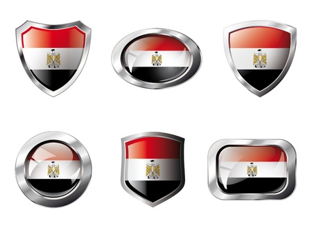 Egypt set shiny buttons and shields of flag with metal frame - illustration. Isolated abstract object against white background. illustration