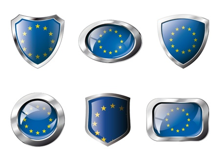 Europe union set shiny buttons and shields of flag with metal frame - illustration. Isolated abstract object against white background. illustration