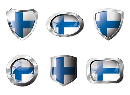 Finland set shiny buttons and shields of flag with metal frame. Isolated abstract object against white background. Stock Photo - 8787331