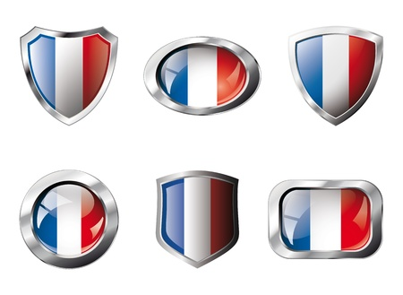 shiny metal: France set shiny buttons and shields of flag with metal frame - illustration. Isolated abstract object against white background.
