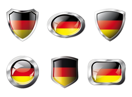 set square: Germany set shiny buttons and shields of flag with metal frame - illustration. Isolated abstract object against white background.
