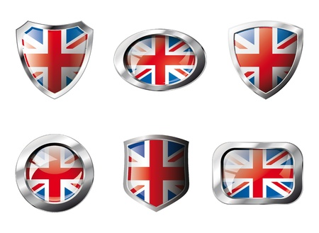 Great britain set shiny buttons and shields of flag with metal frame - illustration. Isolated abstract object against white background. Stock Illustration - 8788292
