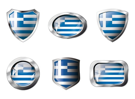 Greece set shiny buttons and shields of flag with metal frame - illustration. Isolated abstract object against white background. illustration
