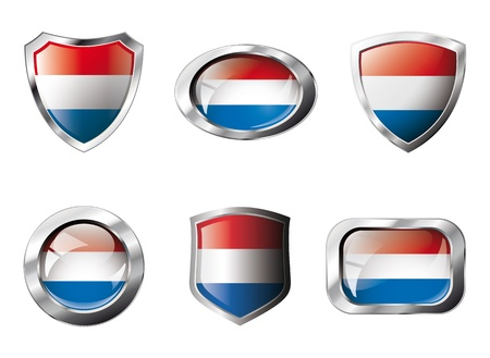 Holland set shiny buttons and shields of flag with metal frame - illustration. Isolated abstract object against white background. Stock Illustration - 8787326