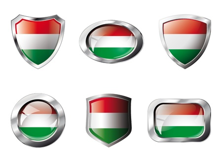 Hungary set shiny buttons and shields of flag with metal frame. Isolated abstract object against white background. photo