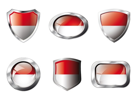 Indonesia set shiny buttons and shields of flag with metal frame . Isolated abstract object against white background. Stock Photo - 8787303