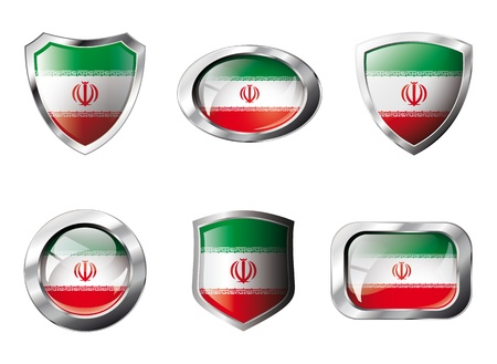 iran: Iran set shiny buttons and shields of flag with metal frame - illustration. Isolated abstract object against white background.