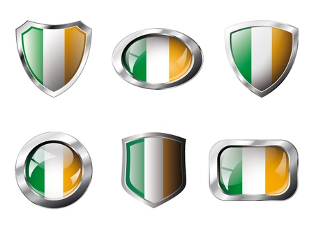 Ireland set shiny buttons and shields of flag with metal frame - illustration. Isolated abstract object against white background. Stock Illustration - 8788326