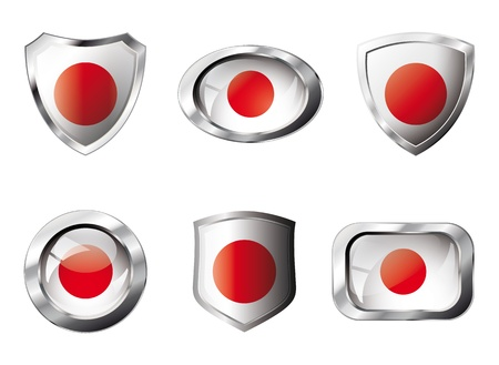 Japan set shiny buttons and shields of flag with metal frame . Isolated abstract object against white background. Stock Photo - 8787307