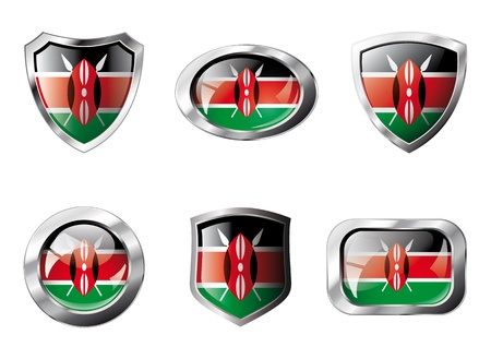 Kenya set shiny buttons and shields of flag with metal frame - illustration. Isolated abstract object against white background. illustration