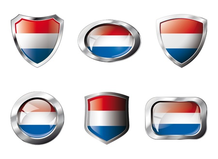 Netherlands set shiny buttons and shields of flag with metal frame - illustration. Isolated abstract object against white background. Stock Illustration - 8787328